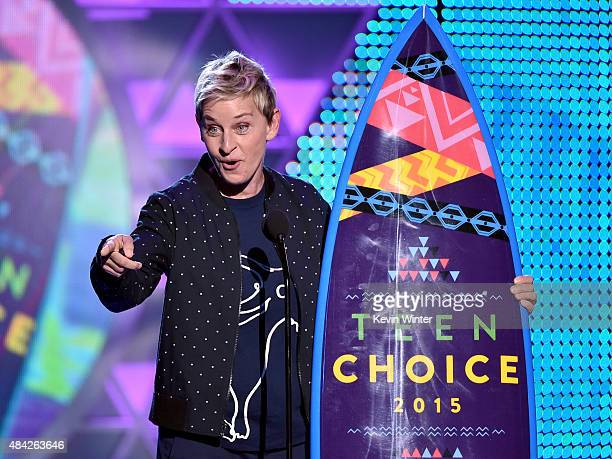 TV personality Ellen DeGeneres accepts the Choice Comedian Award onstage during the Teen Choice Awards 2015 at the USC Galen Center on August 16 2015...