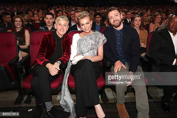 TV personality Ellen DeGeneres actress Portia de Rossi and recording artist Justin Timberlake attend the People's Choice Awards 2017 at Microsoft...