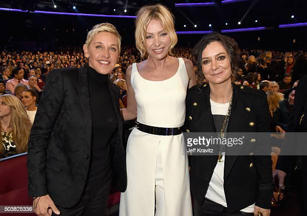 TV personality Ellen DeGeneres actress Portia de Rossi and tv personality Sara Gilbert attend the People's Choice Awards 2016 at Microsoft Theater on...