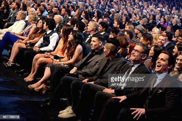 TV personality Ellen DeGeneres actress Portia de Rossi publicist Simon Halls and actor Matt Bomer attend The 41st Annual People's Choice Awards at...