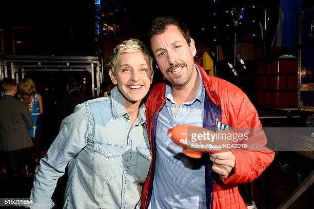 TV personality Ellen DeGeneres and actor Adam Sandler recipient of the Favorite Animated Movie award for 'Hotel Transylvania 2' pose backstage during...