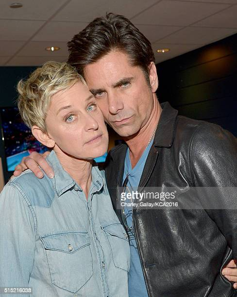 TV personality Ellen DeGeneres and actor John Stamos attend Nickelodeon's 2016 Kids' Choice Awards at The Forum on March 12 2016 in Inglewood...