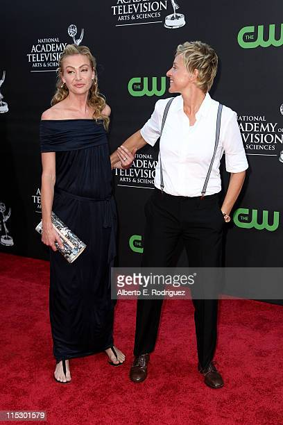 Personality Ellen DeGeneres and actress Portia de Rossi arrive at the 36th Annual Daytime Emmy Awards at The Orpheum Theatre on August 30, 2009 in...