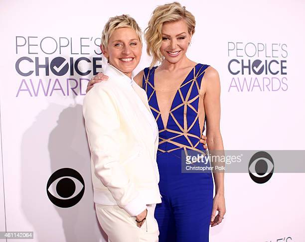 Personality Ellen DeGeneres and actress Portia de Rossi attend The 41st Annual People's Choice Awards at Nokia Theatre LA Live on January 7, 2015 in...