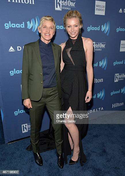 Personality Ellen DeGeneres and actress Portia de Rossi attend the 26th Annual GLAAD Media Awards at The Beverly Hilton Hotel on March 21, 2015 in...