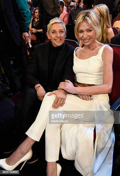 TV personality Ellen DeGeneres and actress Portia de Rossi attend the People's Choice Awards 2016 at Microsoft Theater on January 6 2016 in Los...
