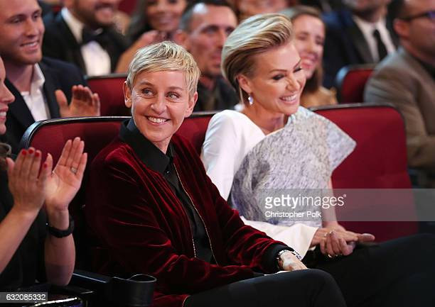 Personality Ellen DeGeneres and actress Portia de Rossi attend the People's Choice Awards 2017 at Microsoft Theater on January 18, 2017 in Los...