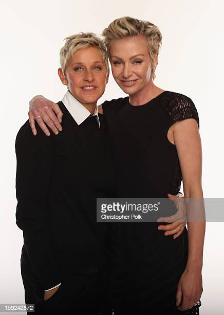 Personality Ellen DeGeneres and actress Portia de Rossi pose for a portrait during the 39th Annual People's Choice Awards at Nokia Theatre L.A. Live...