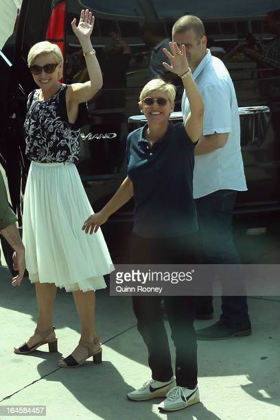 TV personality Ellen DeGeneres and her partner Portia de Rossi arrive at Melbourne International Airport on March 25 2013 in Melbourne Australia