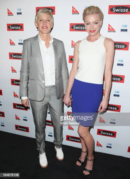 TV personality Ellen DeGeneres and her wife Portia de Rossi arrive at a Ellen DeGeneres Welcome Party on March 26 2013 in Melbourne Australia Ellen...