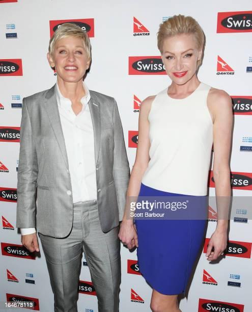 TV personality Ellen DeGeneres and her wife Portia de Rossi arrive at a Ellen DeGeneres Welcome Party on March 26 2013 in Melbourne Australia Ellen...