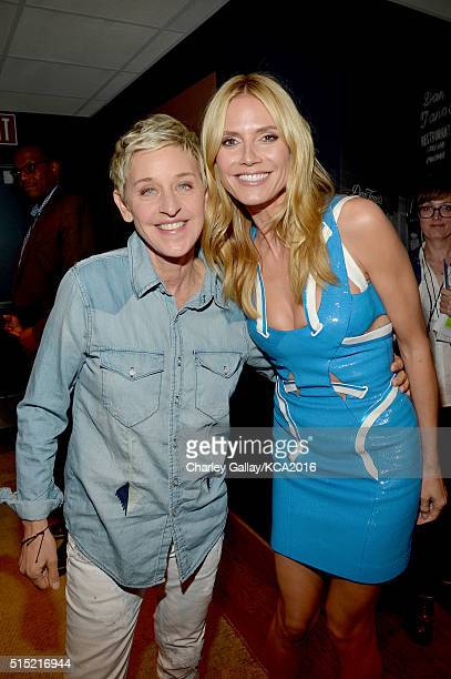 TV personality Ellen DeGeneres and model Heidi Klum attend Nickelodeon's 2016 Kids' Choice Awards at The Forum on March 12 2016 in Inglewood...