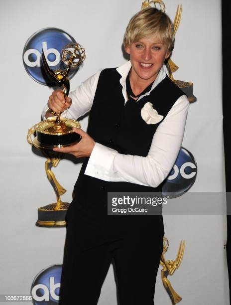 Personality Ellen DeGeneres in the press room at the 35th Annual Daytime Emmy Awards at the Kodak Theatre on June 20, 2008 in Los Angeles, California.