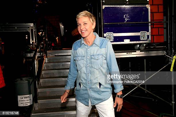 TV personality Ellen DeGeneres poses backstage during Nickelodeon's 2016 Kids' Choice Awards at The Forum on March 12 2016 in Inglewood California