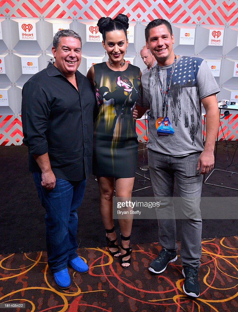 TV personality Elvis Duran (L) and entertainer Katy Perry attend the iHeartRadio Music Festival at the MGM Grand Garden Arena on September 20, 2013 in Las Vegas, Nevada.