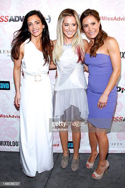 TV Personality Emily Morse executive producer Ashley Tisdale and TV personality Amy Laurent attend the season premiere viewing party for Bravo's Miss...
