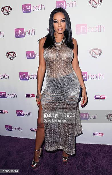 TV personality Erica Mena attends a press conference and reception celebrating Nick Cannon as bBooth Global Brand Ambassador at the Sunset Marquis...