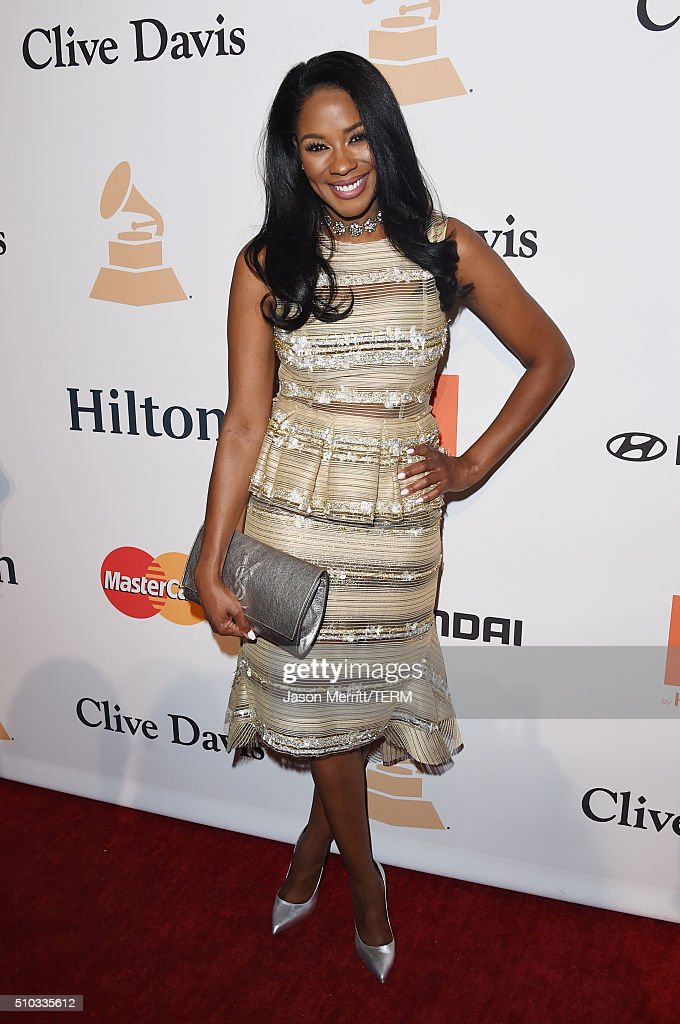TV personality Ericka Pittman attends the 2016 Pre-GRAMMY Gala and Salute to Industry Icons honoring Irving Azoff at The Beverly Hilton Hotel on February 14, 2016 in Beverly Hills, California.