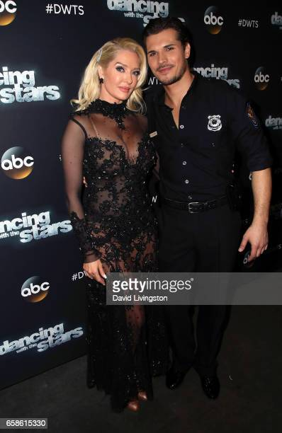 TV personality Erika Jayne and dancer Gleb Savchenko attend 'Dancing with the Stars' Season 24 at CBS Televison City on March 27 2017 in Los Angeles...