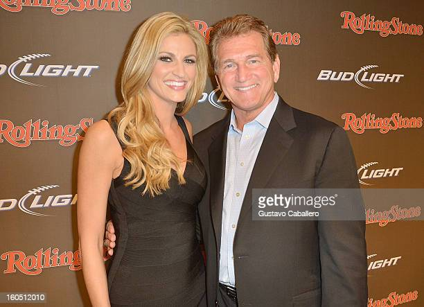 Personality Erin Andrews and former professional football player Joe Theismann arrive at the Rolling Stone LIVE party held at the Bud Light Hotel on...