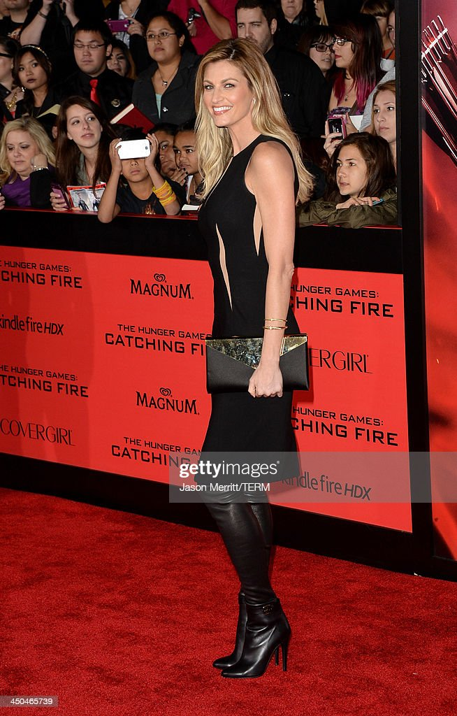 TV personality Erin Andrews arrives at the premiere of Lionsgate's 'The Hunger Games: Catching Fire' at Nokia Theatre L.A. Live on November 18, 2013 in Los Angeles, California.