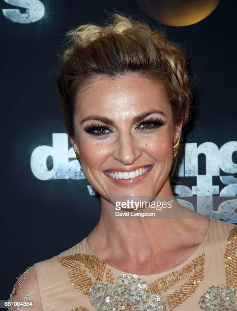 TV personality Erin Andrews attends 'Dancing with the Stars' Season 24 at CBS Televison City on April 10 2017 in Los Angeles California