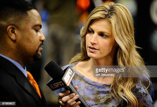 ESPN personality Erin Andrews interviews Frank Haith head coach of the University of Miami Hurricanes after a win over the Virginia Tech Hokies in...