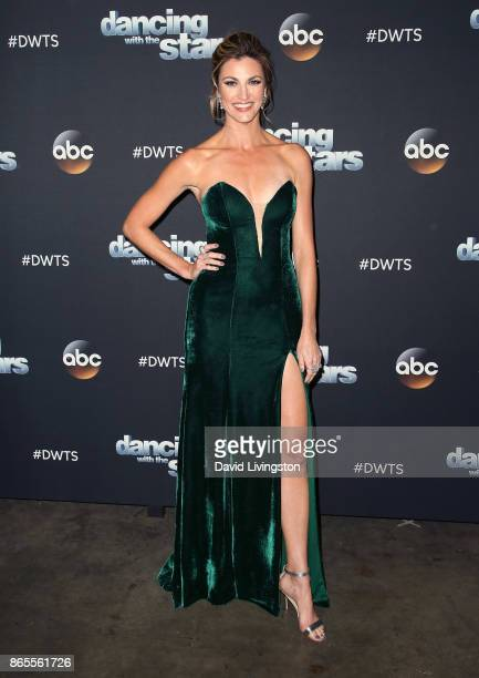 TV personality Erin Andrews poses at Dancing with the Stars season 25 at CBS Televison City on October 23 2017 in Los Angeles California