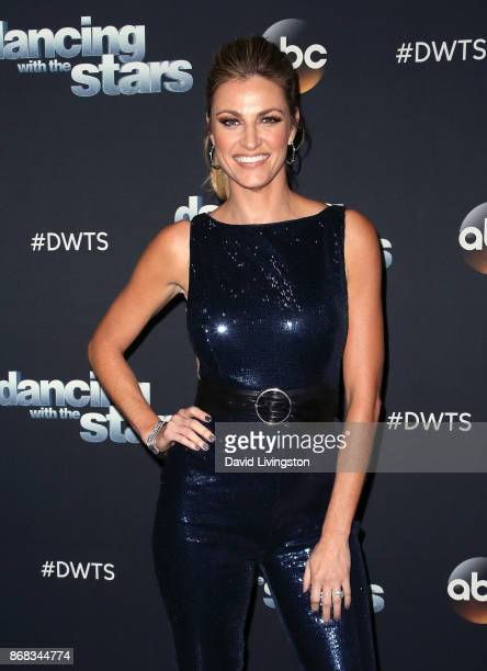 TV personality Erin Andrews poses at 'Dancing with the Stars' season 25 at CBS Televison City on October 30 2017 in Los Angeles California