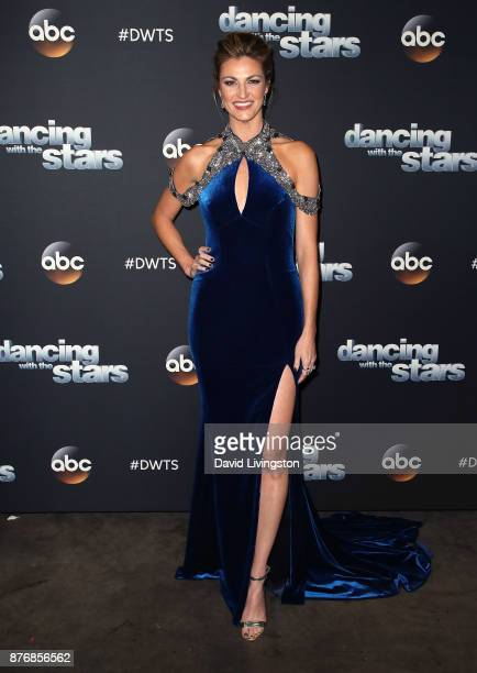 TV personality Erin Andrews poses at Dancing with the Stars season 25 at CBS Televison City on November 20 2017 in Los Angeles California