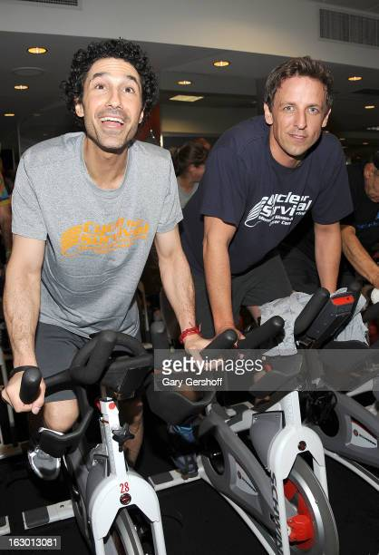 TV personality Ethan Zohn and actor/comedian Seth Myers attend the 2013 Cycle For Survival Benefit at Equinox Rock Center on March 3 2013 in New York...