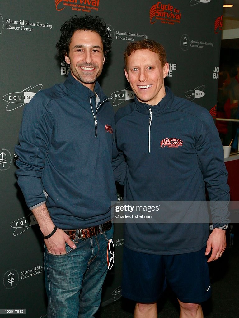 TV personality Ethan Zohn and Cycle For Survival co-founder David Linn attend the 2013 Cycle For Survival Benefit at Equinox Rock Center on March 3, 2013 in New York City.