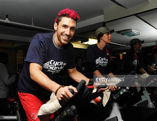 V personality Ethan Zohn and Jenna Morasca cycle at the 2012 Cycle For Survival Day 2 at Equinox Graybar on February 12 2012 in New York City