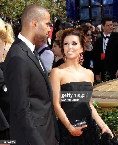 TV personality Eva LongoriaParker and Tony Parker attend the 62nd Annual Primetime Emmy Awards at Nokia Theatre Live LA on August 29 2010 in Los...