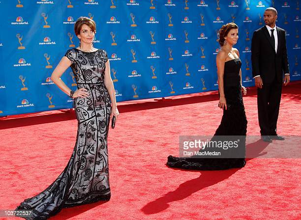 TV personality Eva LongoriaParker Tony Parker and actress Tina Fey attend the 62nd Annual Primetime Emmy Awards at Nokia Theatre Live LA on August 29...