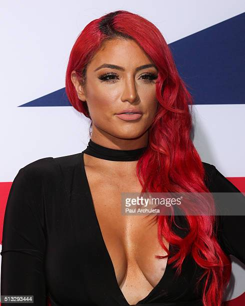Personality Eva Marie attends the premiere of 'London Has Fallen' at ArcLight Cinemas Cinerama Dome on March 1 2016 in Hollywood California