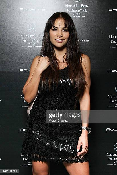 TV personality Fabiola Campomanes poses backstage during the second day of MercedesBenz Fashion Week Mexico Autumn/Winter 2012 at Infield Hipódromo...