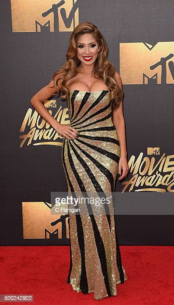 TV personality Farrah Abraham attends the 2016 MTV Movie Awards at Warner Bros Studios on April 9 2016 in Burbank California