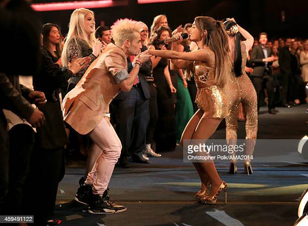 Personality Frankie J. Grande and recording artist Ariana Grande onstage at the 2014 American Music Awards at Nokia Theatre L.A. Live on November 23,...