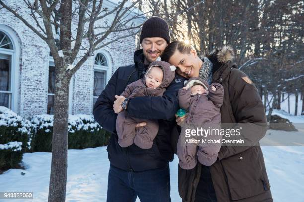 TV personality Fredrik Eklund and husband Derek Kaplan are photographed with twins Milla and Fredrik for People Magazine on January 19 2018 in...