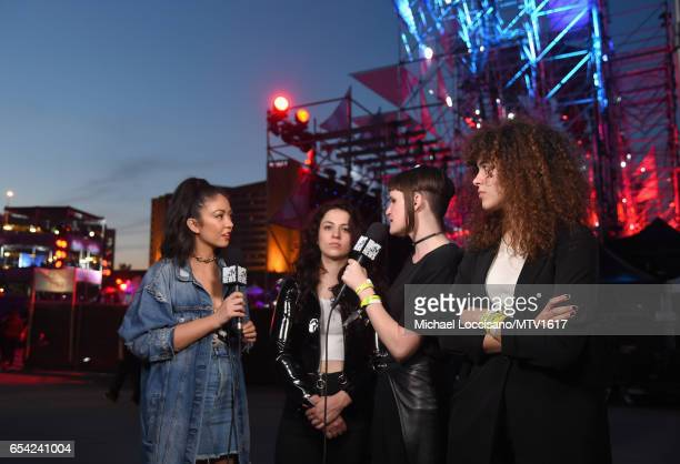 TV personality Gaby Wilson interviews Musicians Josette Maskin Katie Gavin and Naomi McPherson of MUNA at MTV Woodies LIVE on March 16 2017 in Austin...