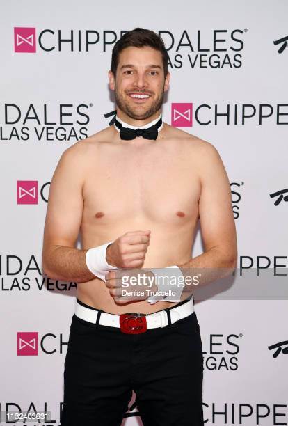 TV personality Garrett Yrigoyen arrives at Chippendales Las Vegas at the Rio AllSuit Hotel and Casino on March 23 2019 in Las Vegas Nevada