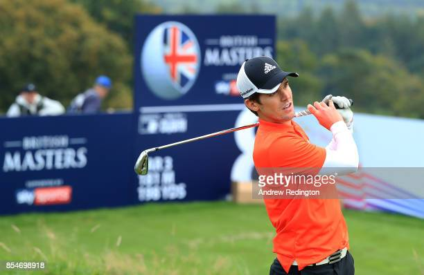 TV personality Gary Beadle in action during the pro am ahead of the British Masters at Close House Golf Club on September 27 2017 in Newcastle upon...