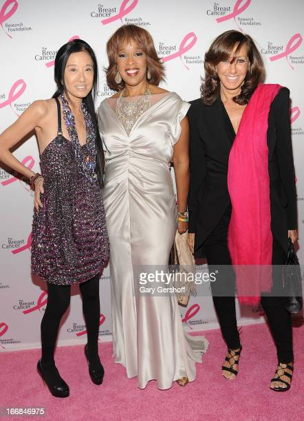 TV personality Gayle King and designers Vera Wang and Donna Karan attend The Breast Cancer Research Foundation's 2013 Hot Pink Party at The...