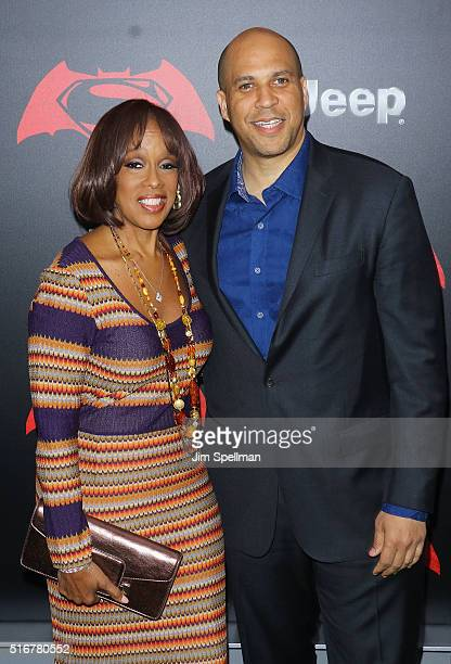 TV personality Gayle King and United States Senator Cory Booker attend the 'Batman V Superman Dawn Of Justice' New York premiere at Radio City Music...