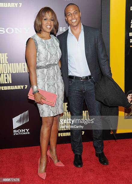 TV personality Gayle King and William Bumpus Jr attend The Monuments Men premiere at Ziegfeld Theater on February 4 2014 in New York City New York