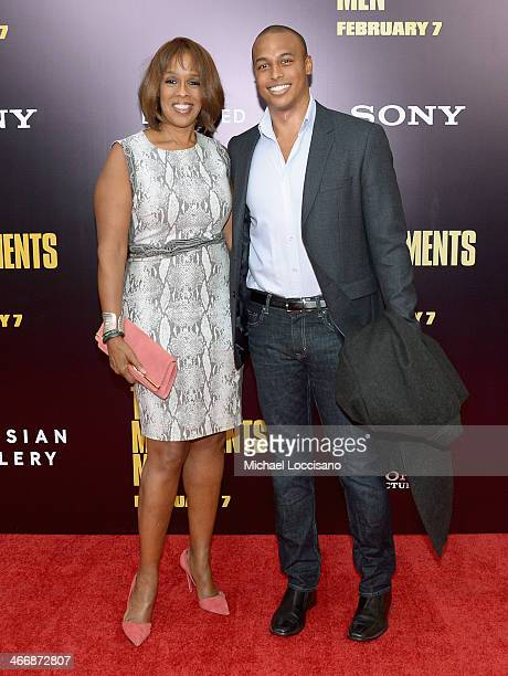 TV personality Gayle King and William Bumpus Jr attends The Monuments Men premiere at Ziegfeld Theater on February 4 2014 in New York City New York