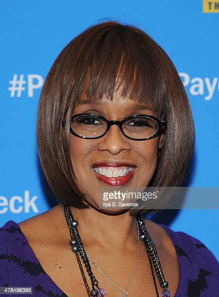 """Personality Gayle King attends """"Paycheck To Paycheck: The Life And Times Of Katrina Gilbert"""" New York Premiere at HBO Theater on March 13, 2014 in..."""