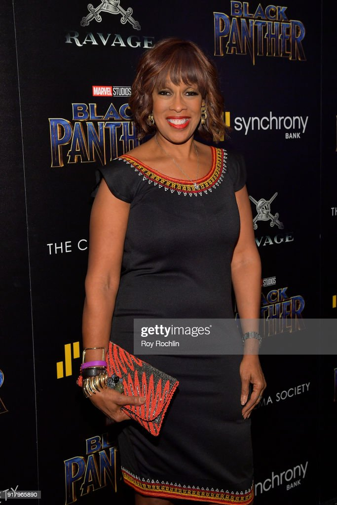TV personality Gayle King attends the screening of Marvel Studios' 'Black Panther' hosted by The Cinema Society on February 13, 2018 in New York City.