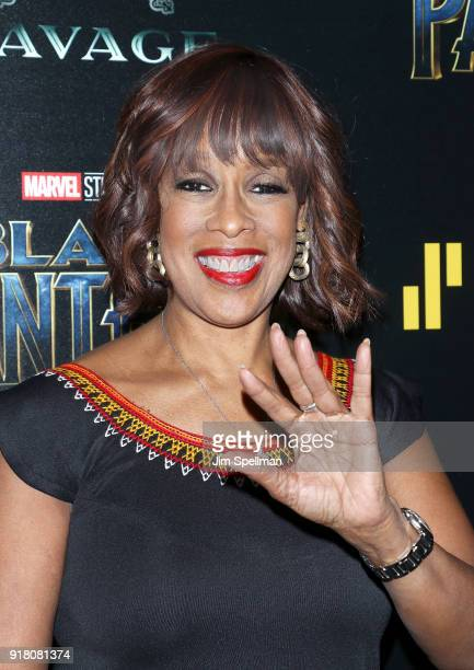 TV personality Gayle King attends the screening of Marvel Studios' 'Black Panther' hosted by The Cinema Society with Ravage Wines and Synchrony at...
